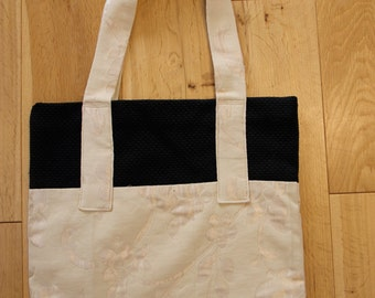 Black, White, Floral, Canvas Tote Bag
