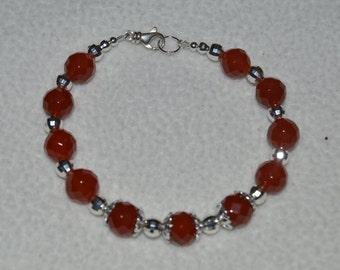 Carnelian and Sterling Silver Bracelet