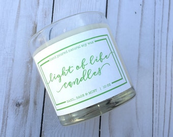 Basil Sage & Mint, Spring Collection, 10oz Glass Jar, Hand-poured Soy Wax Candle