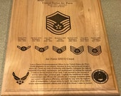"United States Air Force Retirement Award 12"" x 15"" Plaque - Customized and Laser Engraved - Red Alder - Made in the USA"