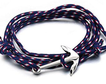 Bracelet stainless money man woman rope blue black adjustable khaki Navy anchor Hope