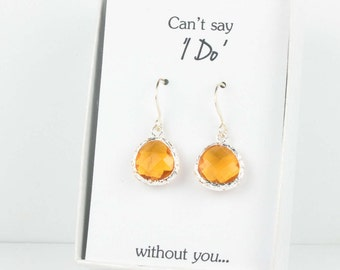 Topaz Silver Earrings, Silver Topaz Earrings, November Birthstone Earrings, Bridesmaid Gift, Wedding Jewelry, Bridesmaid Earrings