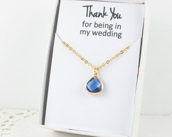 Bridesmaid Sapphire Gold Necklace, Blue Gold Necklace, Gold Sapphire Necklace, Blue Wedding Accessory, Bridesmaid Jewelry, Bridesmaid Gift
