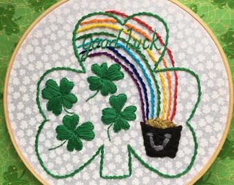 Shamrock,Hand Embroidery Modern shamrock,Embroidery Hoop,Hoop Art,Wall Art,Stitch Art,Door Art.