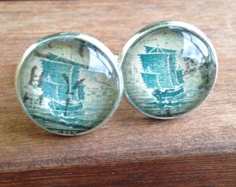Cufflinks, Vintage Postage Stamp Jewelry, China, Junk Boat, Early 1900s, groomsmen, groom, best man, Blue, Etsy Jewelry, wedding