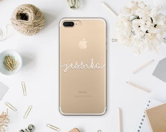 Monogram iPhone 6 Case Custom Name iPhone 7 Soft Case Personalized iPhone 6 Plus iPhone 6S Plus Clear Transparent Case For Samsung S7 MN033