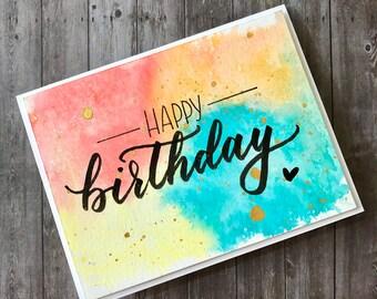 Handmade Watercolor Happy Birthday Card | Rainbow