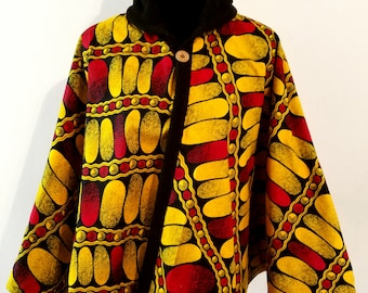 Ankara highneck collar cape. Padded cape. Women cape. Hoodie cape top.