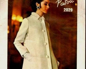 Vintage 1960's Sewing Pattern Vogue Paris Patou A-line Coat & Dress 12 B 32.5""