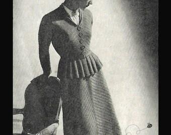 1940's Knitting Pattern Elegant Smart Chevron Peplum Jacket Skirt Suit WWII PDF WW2 Separates