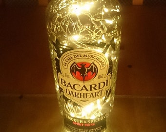 Bacardi Oakheart Bottle Light. Upcycled Bottle Lamp. Perfect Mood Lighting Gift For Women & Boyfriend Gift For Men. Upcycled Lighting
