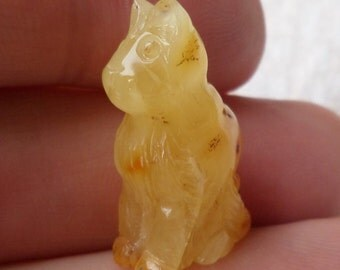 2,02gr. CAT Authentic Butterscotch Miniature Natural Real Hand Carved Baltic Amber Amulet