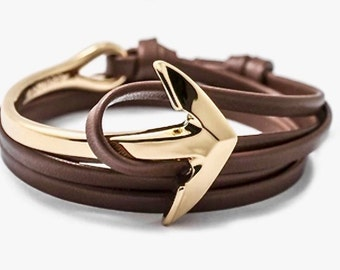 Anchor marine GOLD bracelet and Brown 3 wrist turns new Collection jewelry 2017 Chic or casual finishes treated