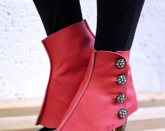 Real Leather Spats - Red - Steampunk, victorian, cosplay, costume, boot covers, please read description for more information