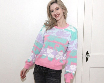 vintage organically grown junior pastel color floral pattern sweater