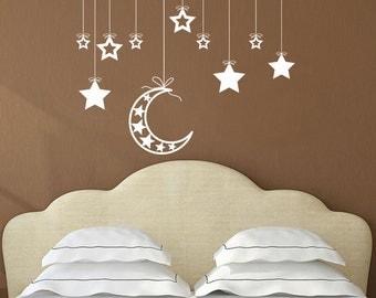 MOON STARS SET, Hanging Moon Assorted Stars Set, Nursery, Kids Room, Bedroom Living Room Wall Decor Decal, Custom Colour, Removable Vinyl