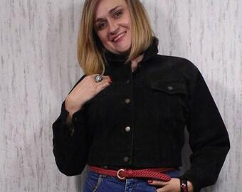 Vintage  80s Suede  Leather Crop Jacket