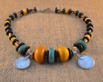 Moroccan Amber and Amazonite Necklace