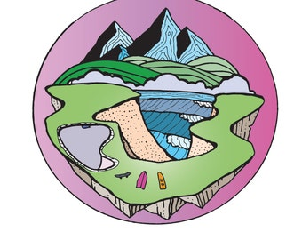 Abstract Landscape Print, Illustration, Mountains Land Sea, Surfing, Skateboard, Snowboard, Colorful Fun Original