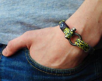 Men Bracelet, Bracelet for Men, Summer Mens Bracelet, Unisex Bracelet, Yellow Cord Bracelet, Summer Bracelet, Fancy Yellow Bracelet