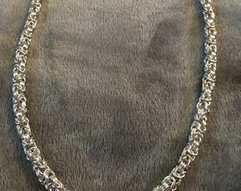 "Byzantine Silver Tone Necklace   18"" - 24"""