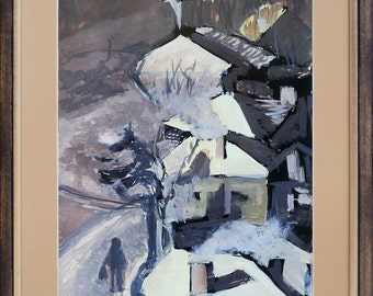 Winter landscape 4, framed painting