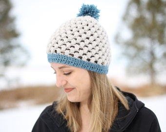 White-gray Puff Stitch Beanie with Icy Blue Poof/Brim