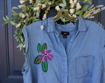 S A L E **Upcycled Hand Embroidered Floral Chambray Top- XXL