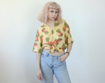 70s Hawaiian Shirt // Vintage Wooden Button Pineapple Top Collared Mens Womens - Extra Large xl