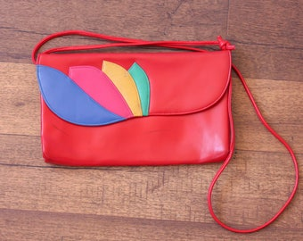 Vintage 70s Purse // Mod Handbag Red Leather