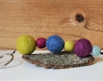 Key ring with felt balls