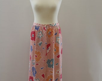 Floral Print Check Skirt (Light Pink/Hot Pink/White/Orange/Blue)