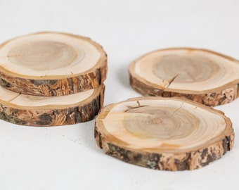 Natural wood coasters, Rustic wooden coasters, Rustic wedding decoration favors, Wood discs for home decors, Drink coasters, Country style