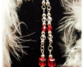 Pretty Handmade Red Crystal Dangle Earrings