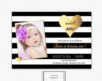 first birthday invitation girl, 1st birthday invitations for girls, photo invitations, black and gold, first birthday invite valentine heart