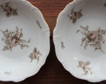 Set of 4 Johann Haviland Coupe Soup Bowls Sepia Rose China