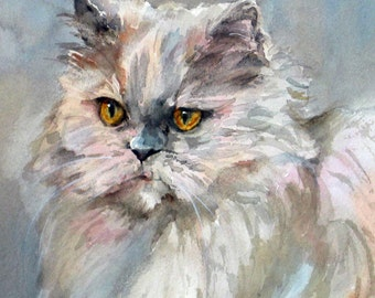 Persian Cat Print//Persian Cat watercolor//Persian Cat art//Persian Cat Painting//pair of cats//pair of Persians//Cat art//Edie Fagan
