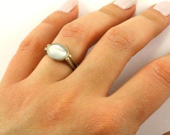 Vintage Oval Grey Color Chrysoberyl Ring 925 Sterling Silver RG 1929-E