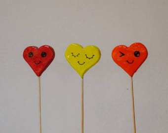 3 Hearts on a stick - face collection. Handmade colorfull heartstick.. Perfect for valentines day. Wedding Decor. Baby shower. Mothers day