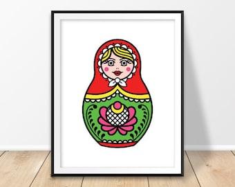 Nursery girl decor, Russian nesting doll, Russian doll print, Russian print, Digital download, Russia art, Matryoshka print, Moscow, Instant