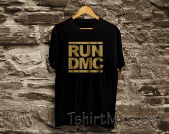 Run Dmc- Gold Print, Black T-shirt