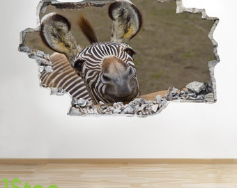 Zebra Wall Sticker 3d Look - Bedroom Lounge Nature Animal Wall Decal Z248