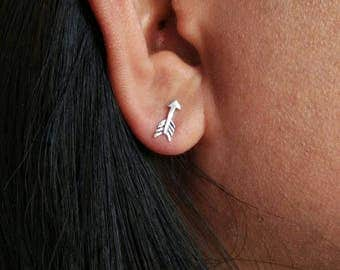 Tiny arrow stud earrings - 925 Sterling Silver - Arrow Studs - silver arrow studs - arrow posts - arrow jewelry - tiny stud earrings