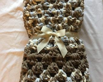 Crochet baby boy blanket, Granny square baby blanket