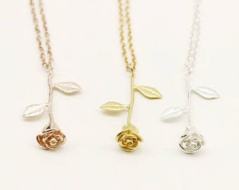 Enchanted Rose Necklace, Beauty and the Beast Rose Necklace, Beauty and the Beast Necklace. Beauty and Beast Necklace, Gold / Rose Gold