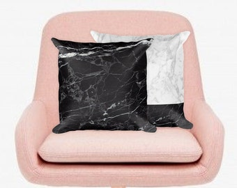 BLACK Marble Pillow, Marble Look Pillow, Marble Throw Pillow, Girly Pillow, Girly Decor Pillow, Decorative Pillow,Throw Pillow, Marble Decor