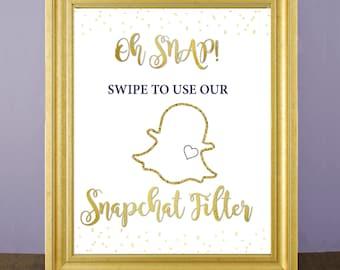 Snapchat filter sign gold-- Snapchat printable wedding sign -- geofilter sign