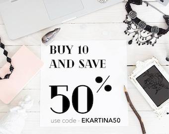 DISCOUNT COUPON CODE - buy 10, save 50%