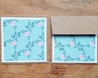 5 FLAT blank recycled mini notecards * kraft paper envelopes * recycled note cards * mini recycled cards * mini envelopes * blank cards