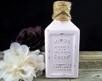 Vintage Hinds Honey and Almond Cream Painted Altered Bottle with Twine